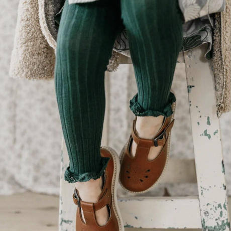 【Collégien】Aliénor - Lace-trim Ribbed Footless Tights