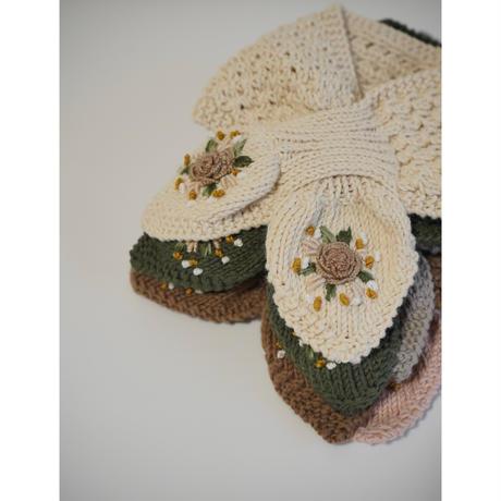 【Penoora's】Embroidery Muffler 《納期予定:11月中旬〜下旬》