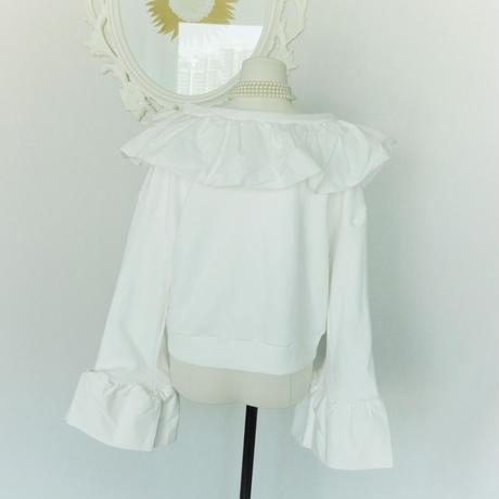 エンジェルフリルのスプリングトレーナーシャツ☆トレンドの端切れフリンジフリル☆