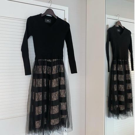 【10月3日まで1000円OFF】シャンデリラ切り替えニットドレス【ウエストゴム&高級感あり】