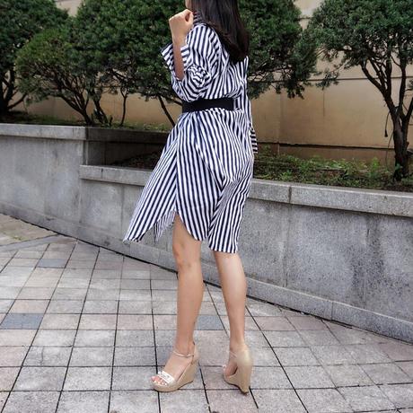 インパクトストライプシャツDRESSワンピース【ネイビー】