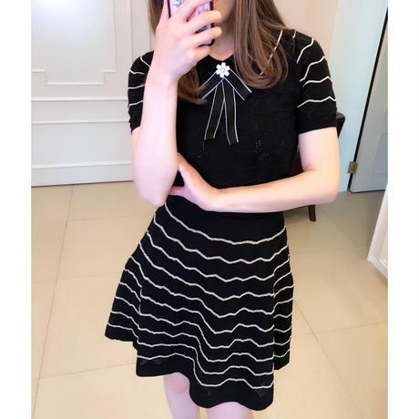 【サマーニット&スカートSET】ブラックエレガントセットアップ★お茶会・参観日・デートにこのセットで!