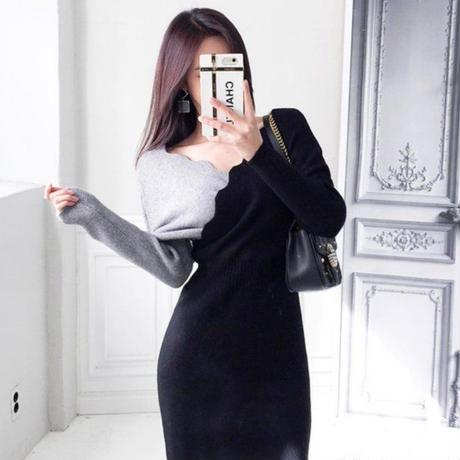 【ユヒャン推薦!】Wニットドレス【グレイ×ブラック】