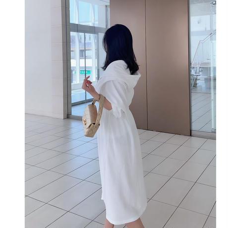 【4月25日まで10%OFF】女優の休日ウエスト絞りパーカーワンピース