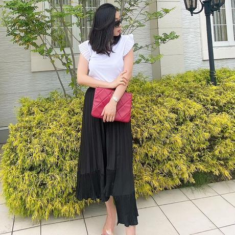 【6月12日まで10%OFF】アシンメトリードレスプリーツスカート【ウエストゴム】