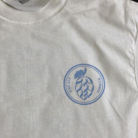 HOP LOGO-ヨ6コTシャツ ホワイト×UNIVERSITY BLUE