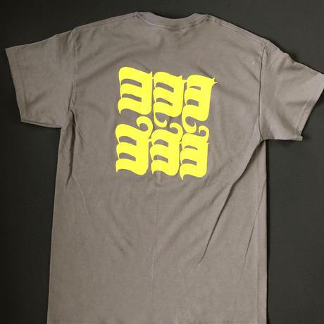 HOP LOGO-ヨ6コ Tシャツ チャコール×VEGAS GOLD