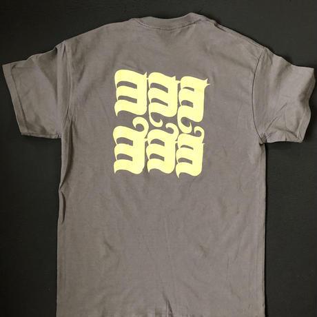 HOP LOGO-ヨ6コTシャツ チャコール×TRUE  YELLOW