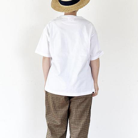 *ユニセックス*H.UNIT-エイチユニット-YES logo 刺繍 tee/ホワイト