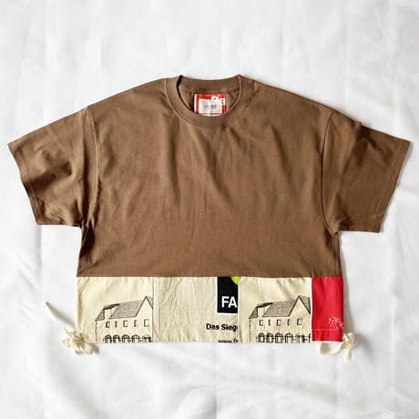 *レディース*yoused-ユーズド-裾リボンパッチワークワイドTシャツ ブラウンB柄