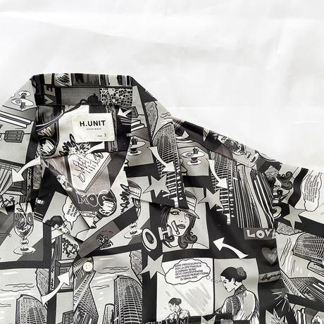 *ユニセックス*H.UNIT-エイチユニット- Amecomi print opencollar shot sleeves shirt