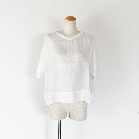 *レディース*TIGRE BROCANTE-ティグルブロカンテ-60リネンVネックオーバーシャツ /ホワイト