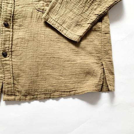 レディース*prit-プリット-綿麻ダブルガーゼスタンドカラービッグシャツ/カーキ