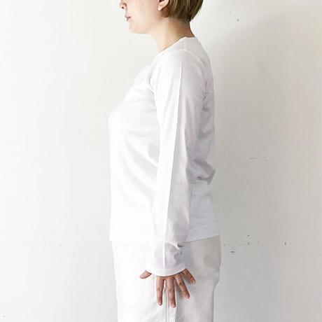 *レディース*grin-グリン-ホームスパンインレイボートネック 後ろ姿刺繍/ホワイト