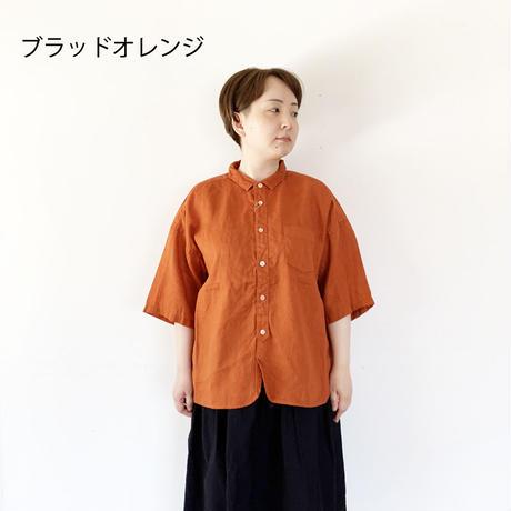 全3色レディース*prit-プリット-21/1フレンチリネン 5分袖レギュラーカラーシャツ P82079