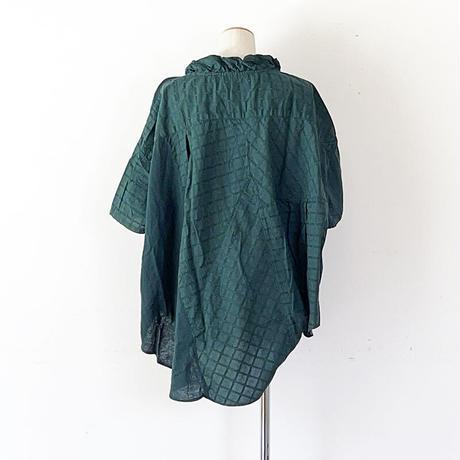 *レディース*TIGRE BROCANTE-ティグルブロカンテ-サテンドビーチェックミックスソリッドシャツ/モスグリーン