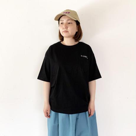 *ユニセックス*H.UNIT-エイチユニット-H.UNIT logo 刺繍 tee/ブラック