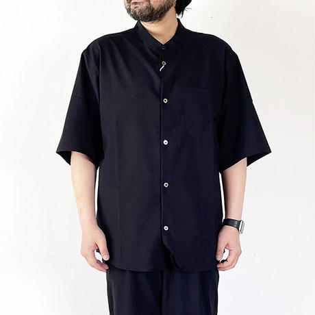 *ユニセックス*LA MOND.-ラモンド-BAND COLLAR SHARI SHIRTS/ブラック