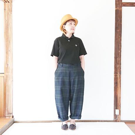 *ユニセックス*KAFIKA-カフィカ-コットンリネンチェックワイドパンツ(kfk167) 女性着用