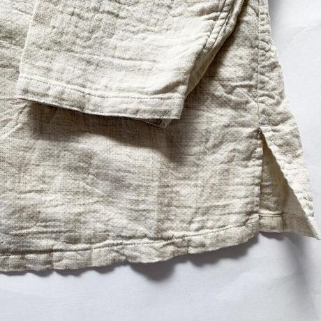 レディース*prit-プリット-綿麻ダブルガーゼスタンドカラービッグシャツ/ナチュラル