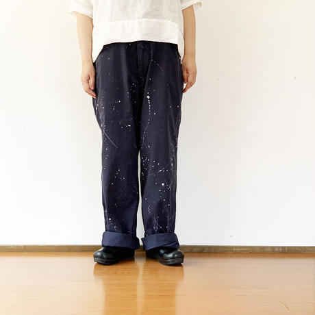 5~6月入荷予定*価格改定有(税込み¥23300)ユニセックス*MASTER&Co*マスターアンドコーLong Chino Pant with Belt ペイント加工オフィサーチノ(ネイビー)