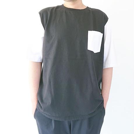 ユニセックス*GOODWEAR★グッドウェア★1/2 SLEEVE COLOR BLOCK POKET TEE 五分袖ブロックパターンTシャツ(ブラック×ホワイト)