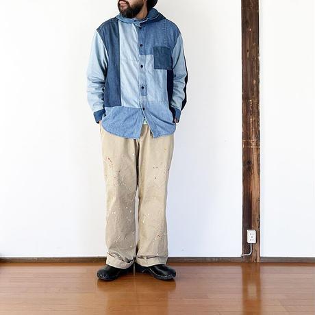 *ユニセックス*TIGRE BROCANTE-ティグルブロカンテ-リメイクデニムミックスフーディーシャツ/SIZE M