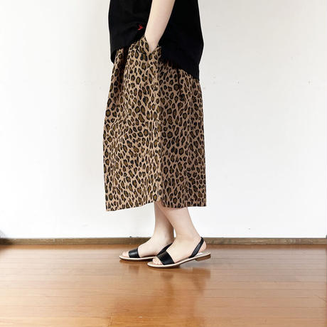 *レディース*TIGRE BROCANTE-ティグルブロカンテ-コットンナイロンレオパードポケットフィセルスカート