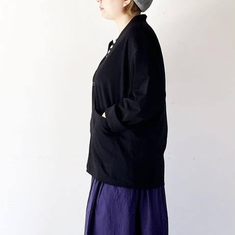 女性着用*ユニセックス*LA MOND.-ラモンド-SUVIN COTTON CARDIGAN(LM-C-149)/ブラック