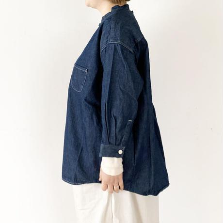 レディース*prit-プリット-6ozデニム 7分袖スタンドカラーシャツ (P81143)