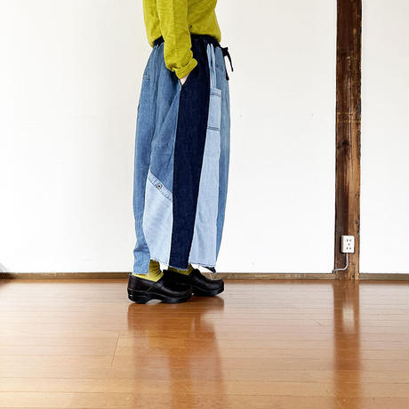 *レディース*TIGRE BROCANTE-ティグルブロカンテ-リメイクデニムシャツミックス ランダムパッチスカート A柄