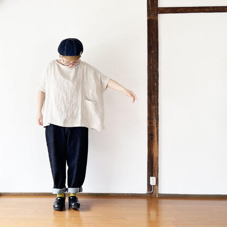 レディース*快晴堂-カイセイドウ-ヘンプリネン 布帛スモックT/ワッペン(11S-07)