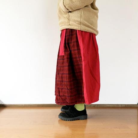 *レディース*TIGRE BROCANTE-ティグルブロカンテ-オンブレネルチェックミックスロングバレルスカート