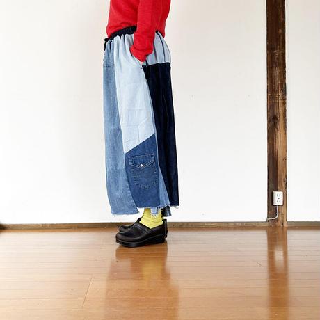 *レディース*TIGRE BROCANTE-ティグルブロカンテ-リメイクデニムシャツミックス ランダムパッチスカート B柄