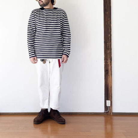 ユニセックス*Tieasy Authentic Classic-ティージー-HDCS BOATNECK BORDER BASQUE SHIRT(te001bd)/Navy×Natural