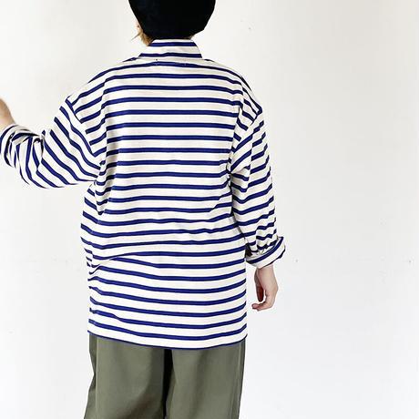 *ユニセックス*Audience MADE IN TOKYO-Basque10オンス(バスク天竺)フレンチボーダー モックネック BOX Tee/キナリ×ブルー