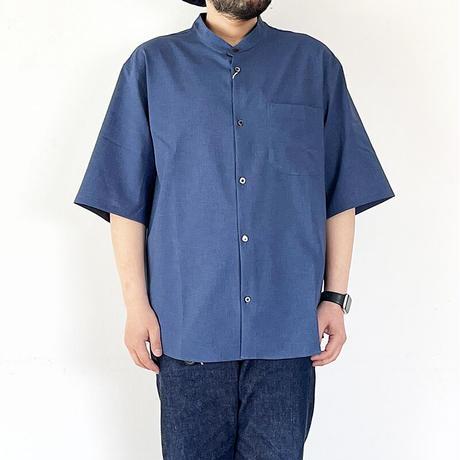*ユニセックス*LA MOND.-ラモンド-BAND COLLAR SHARI SHIRTS/ブルー