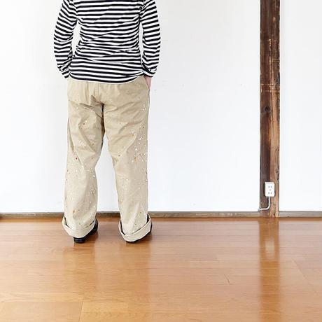 再入荷*ユニセックス*MASTER&Co*マスターアンドコーLong Chino Paint with Belt ペイント加工オフィサーチノ(ベージュ)