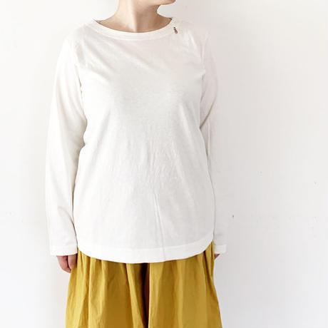 *レディース*grin★グリン★ホームスパンインレイボートネック モ女(モダン女子)刺繍T/ホワイト