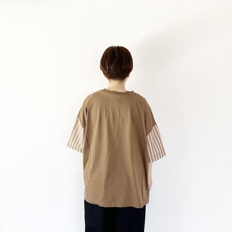 全3色レディース*prit-プリット-72/2サイロプレミアム天竺×タイプライターストライプ 切替5分袖ビッグTシャツ P92019