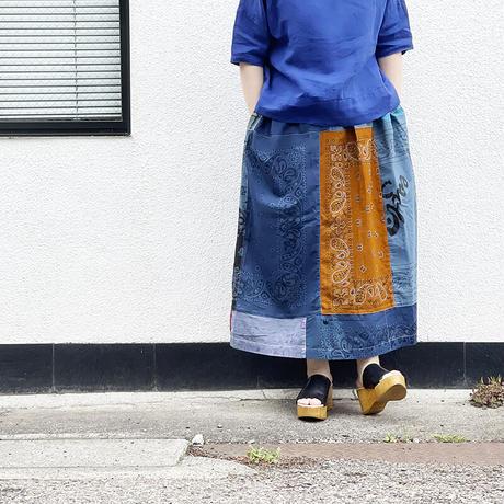 *レディース*SLOWHANDS-スローハンズ-Bandana Vertical PW Gather Skirt/B柄