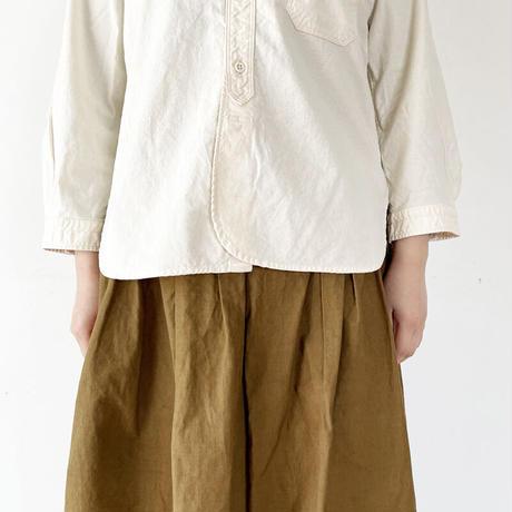 *レディース*OMNIGOD-オムニゴッド-7分袖スタンドカラーシャツ(キナリ)