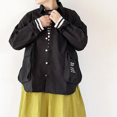 女性着用画*ユニセックス*H.UNIT-エイチユニット- Typewriter ecobag long sleeves shirt/ブラック