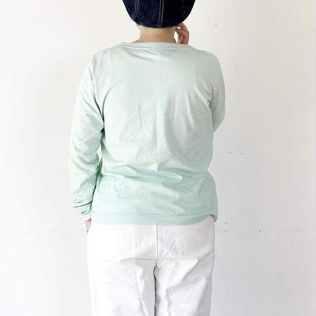 *レディース*grin-グリン-ホームスパンインレイボートネック 後ろ姿刺繍/ミント