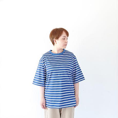 *ユニセックス*LA MOND.-ラモンド-BORDER TEE 5分袖ボーダーTシャツ/ブルー(LM-C-101)