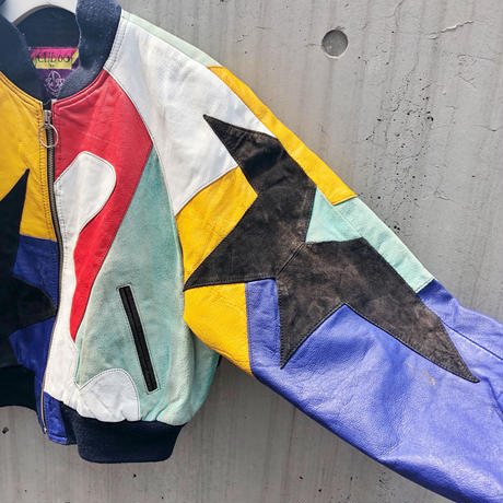 Vintage  Color Leather Patchwork Jacket