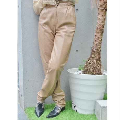 Vintage  Leather Pants Beige