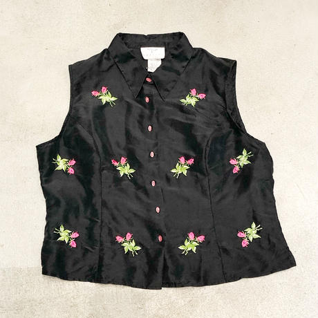 Vintage Flower No-sleeve Shirts 1744552
