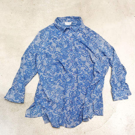 Vintage Blue Lace Print Shirts