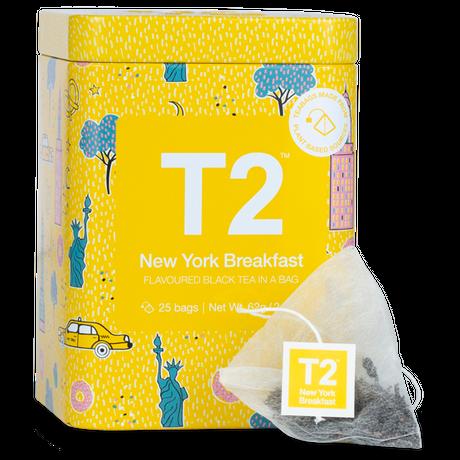 T2 紅茶 New York Breakfast(ニューヨーク・ブレックファスト)ティーバッグ 25個入り 缶タイプ